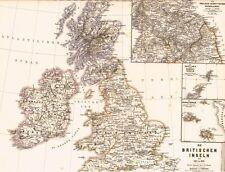 🎄WEIHNACHTEN🎄  Alte Landkarte ENGLAND Scotland Ireland 1485 Maria Stuart 1871