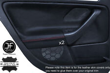 RED STICH 2X REAR DOOR CARD TRIM LEATHER COVERS FITS VW GOLF MK5 V 04-09 5DR