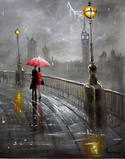 100%HAND-PAINTED ART ACRYLIC OIL PAINTING CHILDEN RAINY CITYSCAPE  16x20 INCH