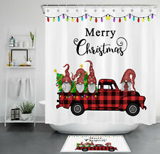 Christmas Tree Retro Red Truck Leprechauns Waterproof Fabric Shower Curtain Set