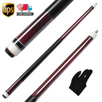 58 Inch 2Piece Billiard Pool Cue Stick 13mm Leather Tip with Glove Fast Shipping