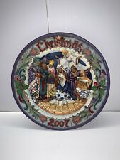 JIM SHORE Born This Day Nativity Plate 3D, 2007 Christmas Baby Jesus.