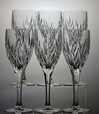 "6 GALWAY IRISH CRYSTAL ""CLIFDEN""CUT 10 OZ WINE GOBLETS/GLASSES TALL 8 1/2"" BOXED"