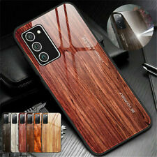 For Samsung Galaxy Note 20/20 S21 S20 Wood Pattern Glass Back Phone Case Cover