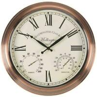 Outdoor/Indoor Garden Wall Clock Thermometer & Humidity Gauge Chrome Cream 15""
