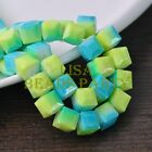 New 10pcs 10mm Cube Square Glass Loose Spacer Coloried Beads Yellow&Lake Blue