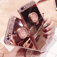iphone Case 6/7 Cover Girl Bling Crystal Diamond Mirror Finger Ring Stand Holder