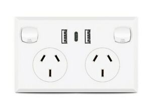 FAST Charge 3.6 amp  Dual USB & Type-C  Double Power Point GPO