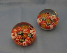 Pair Small Close Packed Millefiori Paperweights