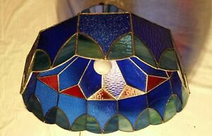 Vntg Tiffany Style Leaded Stained Glass Hanging Pendant /Lamp Shade Read descrip