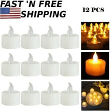 12Pcs Birthday Wedding Home Flameless Led Candle Flickering Tea Light Battery
