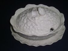 Cauliflower Soup Tureen/Underplate whte Ceramic Majolica Pottery SUBTIL Portugal