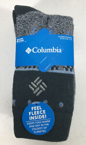 COLUMBIA Fleece Lined Women's Thermal Crew Socks Lightweight Boot Socks 2 Pair-B