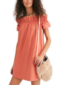 FREE PEOPLE TERRACOTTA SOPHIE OFF THE SHOULDER BOHO DRESS SMALL