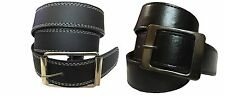 Combo of Men's Belt Black color white stitching and Plain Black Belt Lightweight