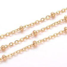 Steel rondelle ball beads Chain N50 2.3mm Anklet bracelet Ankle Gold Stainless