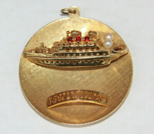 """14k Yellow Gold Cruise Ship """"Bon Voyage"""" Round Charm W/Red Stones & Pearls"""