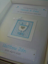 Luxury Personalised New Baby Boy Card, Swarovski crystals, boxed
