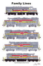 "Family Lines Locomotives 11""x17"" Railroad Poster Andy Fletcher signed"