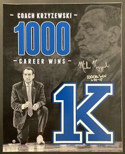 Mike Krzyzewski Signed Duke Blue Devils 16x20 Photo Coach K 1000Win Auto Steiner
