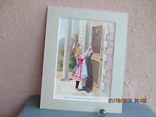 vintage lithograph of Goldilocks at the Three Bears' door 1893