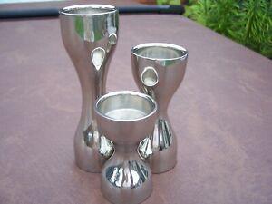 Used Set OF Three Silver Coloured Tea Light Holders