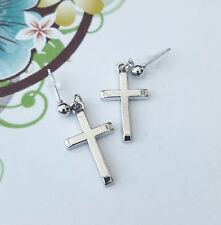 Silver Cross Earrings Studs Post Religious Crosses Goth Gothic Gift Present