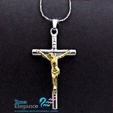 18k white yellow gold filled cross solid Necklace mens womens necklace