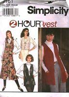 9161 Vintage Simplicity Sewing Pattern Misses Two Hour Vest Waistcoat UNCUT OOP