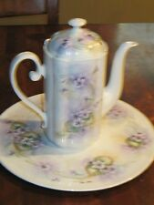 Hand painted Bavaria cake plate and teapot lavender floral