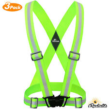 3 X Reflective Strap Safety Vest Running Gear - Running, walking, Bike Cycling