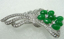 Fashion Excellent Emerald Green Jade White Gold Plated Crystal Flower Pin Brooch