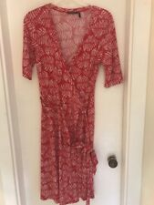 Women's Wrap Dress Size Small Daisy Fuentes Red & White Leaves Kohl's