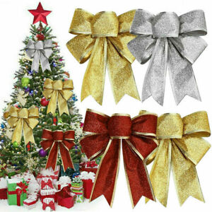 10Pcs Large Bows Christmas Tree Bowknot Ornaments Party Gift Present Xmas Decor