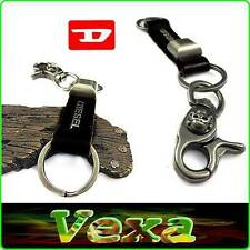 DIESEL Stylish leather Keychain Keyring Black Genuine leather & Metal Surf KD01