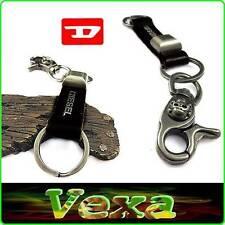 DIESEL Stylish leather Keychain Key-ring Black Genuine leather & Metal Surf KD01