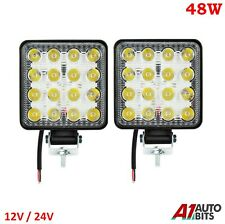 48w 16 Led Work Flood Beam Lamps Lights X2 10-30v Tractor Agricultural Vehicles