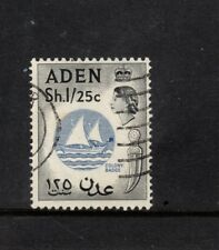 ADEN SG64 1s25 BLUE & BLACK ELIZABETH II Fine Used Colony badge Boat