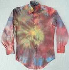 Tie Dye Long Sleeve Button Down Shirt 14.5 Psychedelic Small Multi-Color Rainbow
