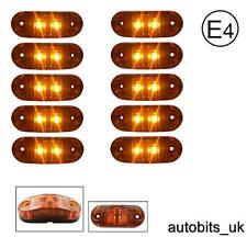10 PCS ORANGE AMBER 12V 2 LED SIDE MARKER INDICATORS LIGHTS TRUCK LORRY E-MARK