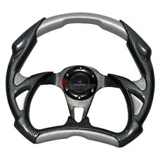 320mm Battle Type Steering Wheel Carbon Fiber Silver PVC & Black Spokes & Emblem