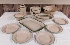 Vintage LOT of CREAM & GREEN Enamelware Metal Cookware KITCHEN Primitive