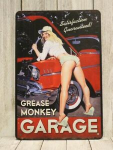 Sexy Pinup Girl Auto Mechanic Tin Sign Poster Vintage Style Man Cave Repair Shop