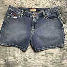 Womens Tommy Hilfiger Size 13 Jean Shorts Pocket Embroidery Blue Denim Spell Out
