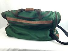 LL Bean Duffle Shoulder Gym Bag Travel Wheels Green Canvas Large Leather Trim