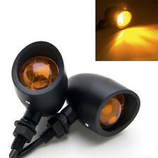 Black Motorcycle Turn Signals Mini Bullet Blinker Amber Indicator Lights Lamp