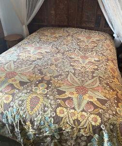 Pottery Barn Cassandra Print Full/Queen Duvet cover 100% Cotton Brown/Tan/Floral