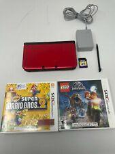 RED Nintendo 3DS XL Handheld System + Charger + 2 Games - 4GB Mem Card - TESTED