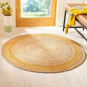 Jute Rug Yellow Line Round Handmade Carpet Reversible Braided Modern Rustic Look