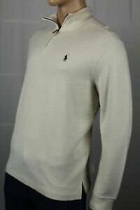 Polo Ralph Lauren Cream 1/2 Half Zip Estate Rib Sweater Green Pony NWT